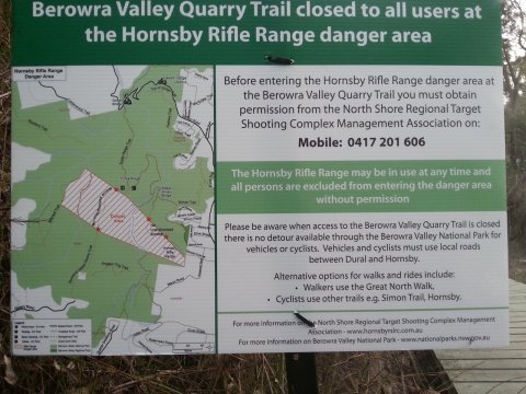 NPWS Trail Restiction Safety Notice - Hornsby Rifle Range