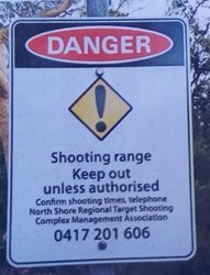 Sign marking rifle range boundaries